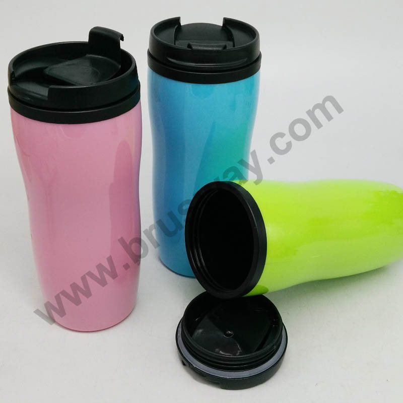Double wall 12 OZ plastic travel mug BW-00114