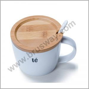 Wood Cover White Mini Ceramic Mugs BW-00107