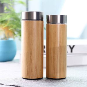 Bamboo Vacuum Stainless Steel Water Bottle Tea Cup