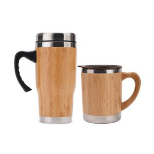 Insulated Coffee Travel Mug Reusable Bamboo Water Bottle