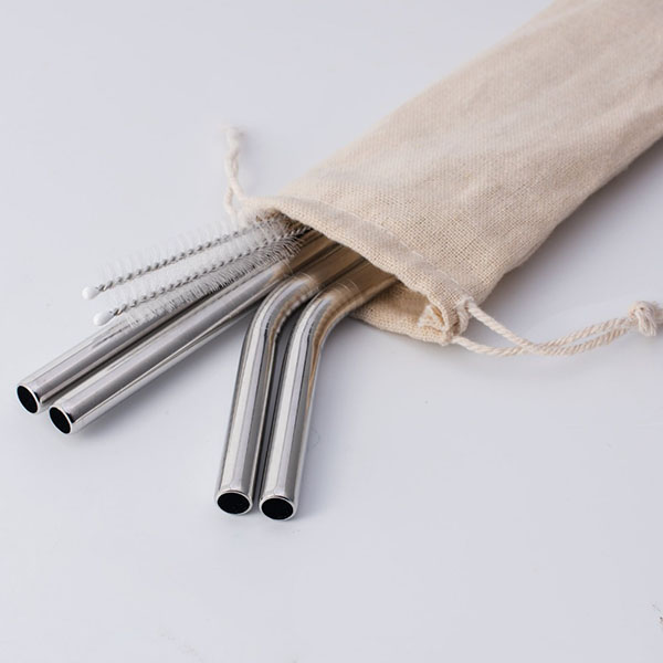 Reusable Stainless Steel Straws With Color Pouch Cleaning Brushes