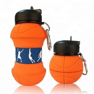 Ourdoor Collapsible Basketball Silicon Folding Bottle With Custom Logo