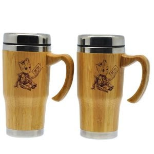 450ML Car Auto Bamboo Stainless Steel Coffee Travel Mug With Handle