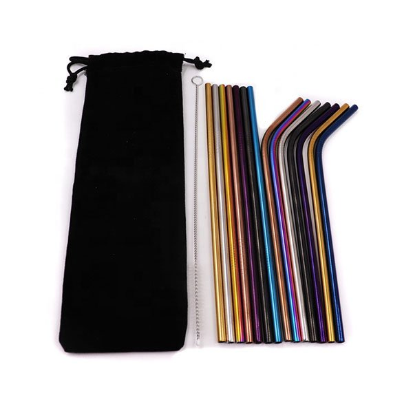 FDA Reusable Colorful 304 Stainless Steel Drinking Straws With Logo