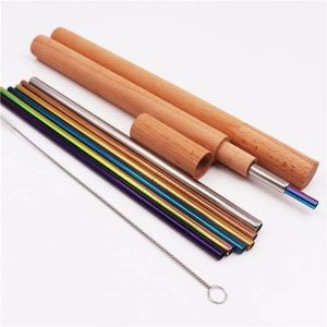 Wooden Case Portable Reusable Stainless Steel Drinking Straw Set
