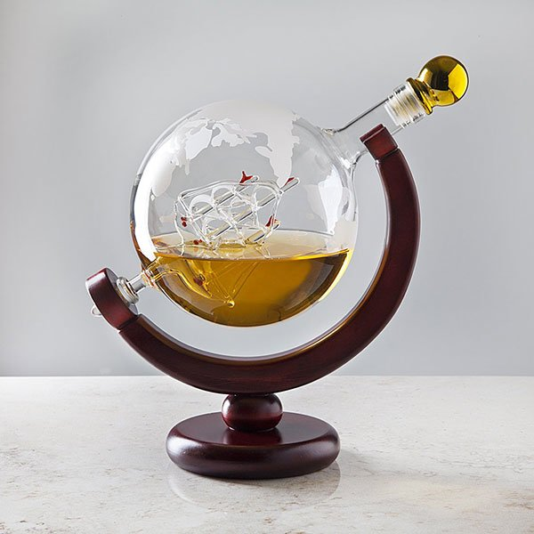 Decorative Glass Whiskey Decanter With Antique Boat
